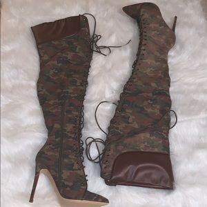 Liliana Camo Thigh High Boots